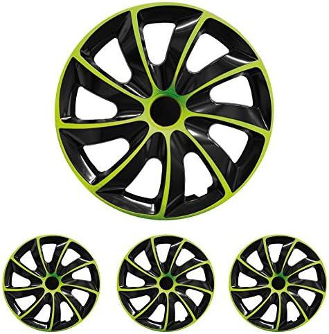 Fussmatten Deluxe Radkappen Radzierblenden 4 Stück Im Set 14 Zoll 14 R14 Für Stahlfelgen Vieler Fabrikate Bicolor Schwarz Grün Auto