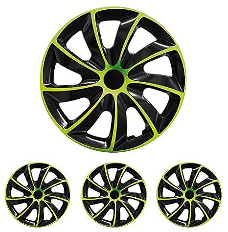 Tapacubos - Tapacubos Tapacubos QUAD verde 16 pulgadas 16? R16 universal apto para casi todos los vehículos estándar con llantas de acero por ejemplo Skoda: ...