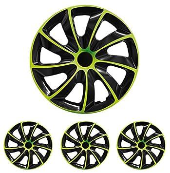 (Juego de 4) 13, 14, 15 y 16 pulgadas tapacubos Quad bicolor (Negro/Verde), apto para casi todos los coches (universal): Amazon.es: Coche y moto