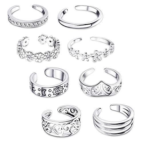 (FIBO STEEL 8 Pcs Open Toe Rings for Women Girls Vintage Cute Band Toe Ring Adjustable)