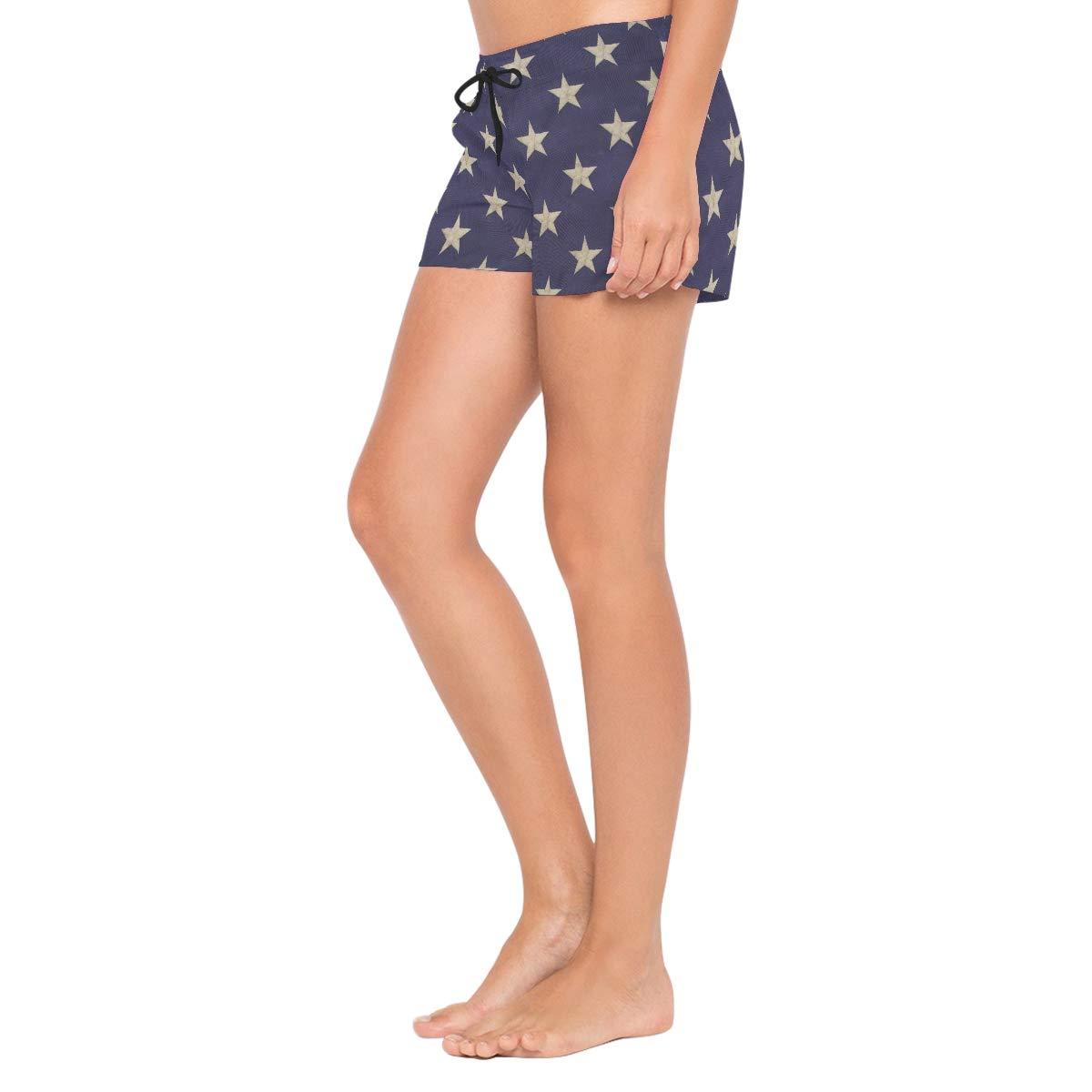 L Star Purple Background Womens Board Shorts with Pockets Quick Dry Drawstring Beach Swim Trunks S