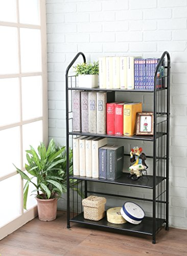 Review Black Four Tier Metal Bookshelf Rack By eHomeProducts by eHomeProducts