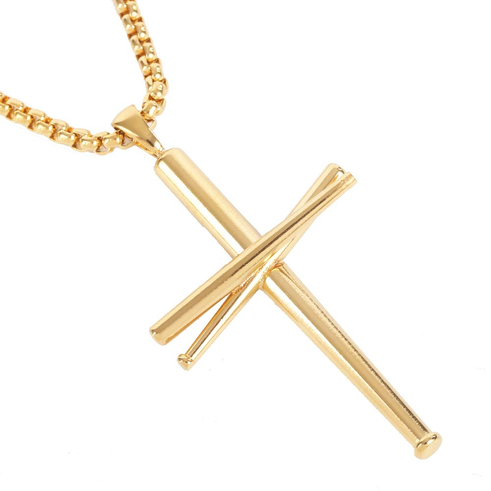 AB Max Cross Necklace Baseball Bats - Stainless Steel Athletes Cross Pendant Sports Necklaces Gifts for Boy Men Women Teen Boys Girls 20'' Rounded Box Chain Color Gold