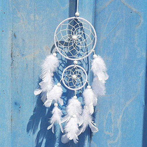 (Baiyu Dream Catcher White Handmade Traditional 2 Circular Net with Feathers Home Decor Wall Car Hanging Ornament Craft Gift 12 inch Long)