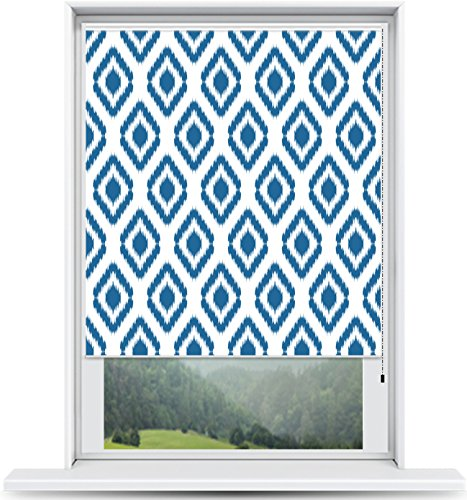 ShadePix Custom Printed Window Shade – Blackout Window Shade with available in size 24 x 36 Ikat Navy
