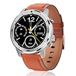 Smart Watch, Popglory Smartwatch HR, Touchscreen 1.3″ Fitness Tracker with Blood Pressure Monitor, IP68 Waterproof Fitness Watch, 30 Days Battery Life Compatible with Android Phones and iPhone