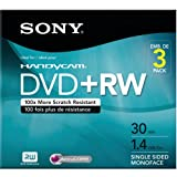 Sony 3DPW30R2HC 3-Pack 8cm DVD+RW with Hangtab