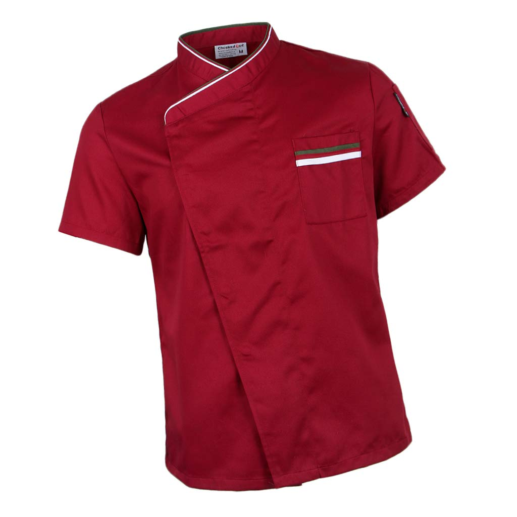 Fityle Snap Fastener Chef Jacket Coat Apparel Hotel Kitchen Service Bakery Uniform Short Sleeve Workwear Men Women - Red, 3XL