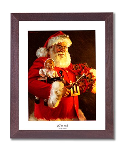 Santa Clause Art (Old St Nick Santa Clause Christmas Picture Framed Art Print #1)