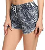 Simplicity Juniors Acid Washed Denim Design Cotton Shorts with Drawstring Waist