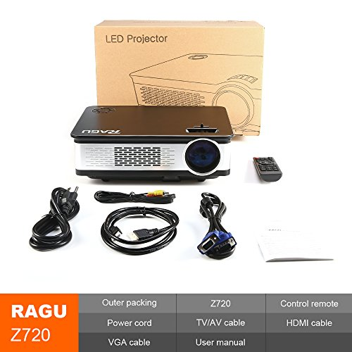 "RAGU Z720 Video projector HD Projectors Portable Movie Projector 1280x768 5.8"" LCD Home Theater with HDMI Support 1080P VGA USB SD AV TV Laptop for Entertainment Game Party by Ragu (Image #5)"