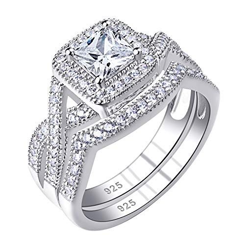 Newshe Wedding Rings for Women Engagement Ring Sets 925 Sterling Silver Cz 1.24Ct Princess Size 5-10