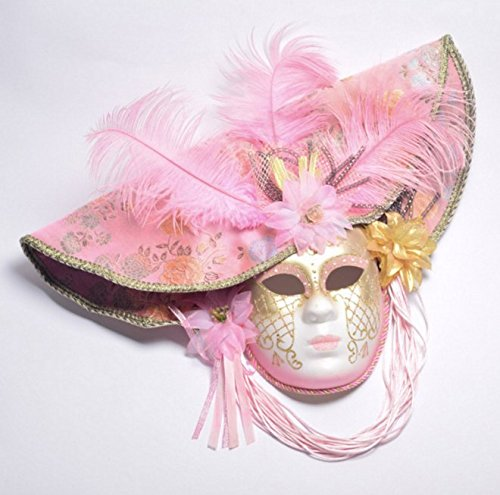 ASIN Halloween pp+Cloth Pink Color-Painted Feather Dressup Venice Sexy Lady Princess Cosplay Masquerade face mask -