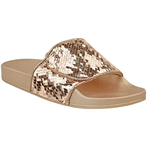 Fashion Thirsty New Womens Diamante Slides Flat Summer Slip On Sandals Bling Flip Flops Size UK Rose Gold Metallic Sequin / White Sequin