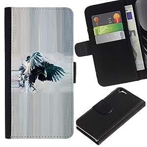 """Apple (4.7 inches!!!) iPhone 6 , la tarjeta de Crédito Slots PU Funda de cuero Monedero caso cubierta de piel ("""" Raven Crow Watercolor Eagle Wings"""")"""