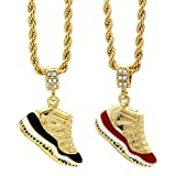 Mens Gold Plated Hip Hop Retro 11 'Concord' & 'Cherry' Pendants 4mm 24' Rope Chain