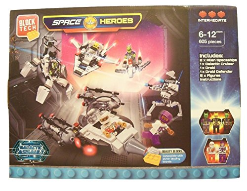 Space Heroes Galactic Assault 605 Piece Building Set ~ Intermediate Level (Builds 2 Alien Spaceships, Galactic Cruiser, Droid, Droid Defender, 5 Figures; Works with Other Leading Brands; Ages 6-12) (Galactic Heroes Ships)