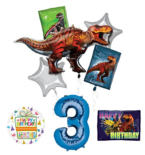 Mayflower Products Jurassic World Dinosaur 3rd Birthday Party Supplies and Balloon Decorations