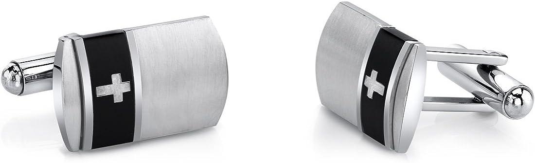 Peora Black Band Cross Motif Stainless Steel Cufflinks