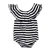 GRNSHTS Baby Girls Black and White Striped Romper Bodysuit (80/3-6 Month, Black+White)
