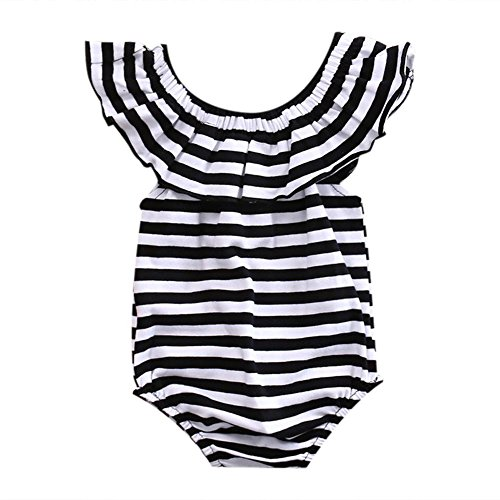 Girls Striped Romper - GRNSHTS Baby Girls Black and White Striped Romper Bodysuit (100/12-24 Month, Black+White)