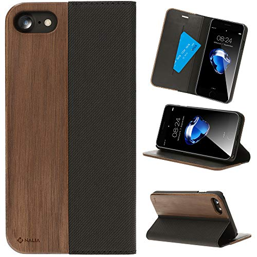 - NALIA Wood Flipcase Compatible with iPhone 8/7, Handmade Vegan Wallet Smart-Phone Cover, Slim Back Protector Soft Skin Book-Case Full-Body Shockproof Bumper with Card Slots, Color:Walnut