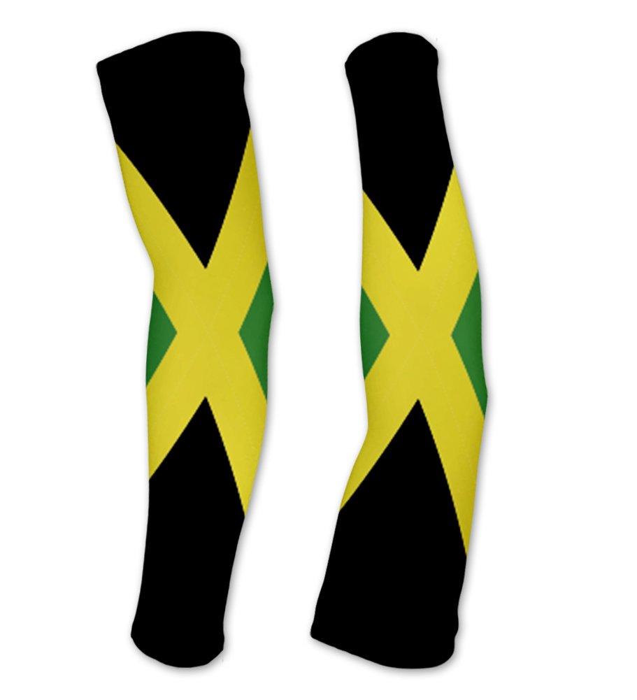 Jamaica Flag Compression Arm Sleeves UV Protection Unisex - Walking - Cycling - Running - Golf - Baseball - Basketball - Size XS
