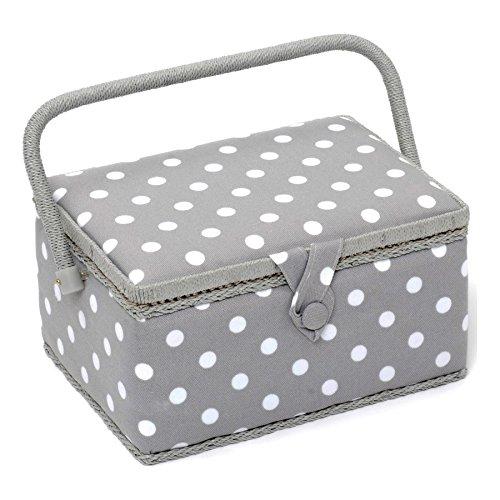 HobbyGift, scatola da cucito, misto cotone, grigia a pois, M MRM\137