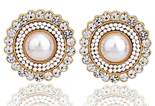 (MU&ZI Earrings Stud, Austrian Crystals Rhinestones Art Vintage Earrings,Cream Dome Pearls with Wedding)