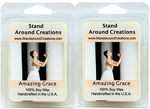 Amazing Grace - Set of 2- Soy Wax Melt Tarts - Italian bergamot w/ lemon sweetened w/ citron and neroli. A floral jasmine, orange blossom w/ rose are blended w/ musk and cedar wood 3oz./ea by Stand Around Creations
