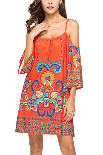 Spaghetti 10 Shift Dress Womens Printed Strap Shoulder Anatoky Cold Pattern Tribal Summer qAxgw1tPw