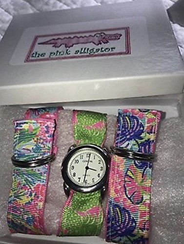 (Pink Alligator Ribbon Watch Set Fan Sea Pants, Pink Flamenco, Exotic Garden Lilly Pulitzer)