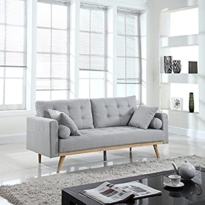 """Divano Roma Furniture Mid-Century Sofas, Light Grey - Modern mid century sofa in various colors - Includes 2 bolster side pillows and 2 square pillows in the same fabric Soft hand picked linen fabric in tufted button design for a touch of sophistication while still giving your living room a modern feel Some assembly required: Measures - Overall: 75""""W x 29""""D x 26""""H inches, Seat Cushion: 66""""W x 22""""D inches - sofas-couches, living-room-furniture, living-room - 512DLmd1EyL. SS400  -"""
