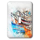 3dRose Lens Art by Florene - Watercolor Art - Image of Row Of Fishing Boats Done In Watercolor Paint - Light Switch Covers - single toggle switch (lsp_291001_1)