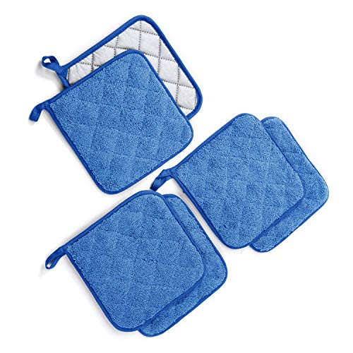 Jennice House Potholders Set, Heat Resistant Hot Pads Mats Coasters Terry Cotton Pot Holders for Cooking and Baking, Set of 6(Blue) ()