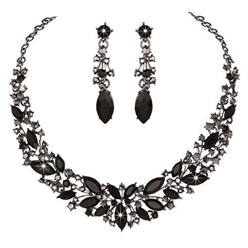 Youfir Austrian Crystal Rhinestone Bridal Wedding Necklace and Earrings Jewelry Sets for Women(Black) by Youfir