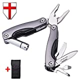 Multitool Locking Pliers with Knife and Flaslight - Small EDC and Survival Pocket Folding Spring Loaded Mini Tool - Black Portable Tactical Swiss Army Utility Multi Function Tool - Grand Way 2228