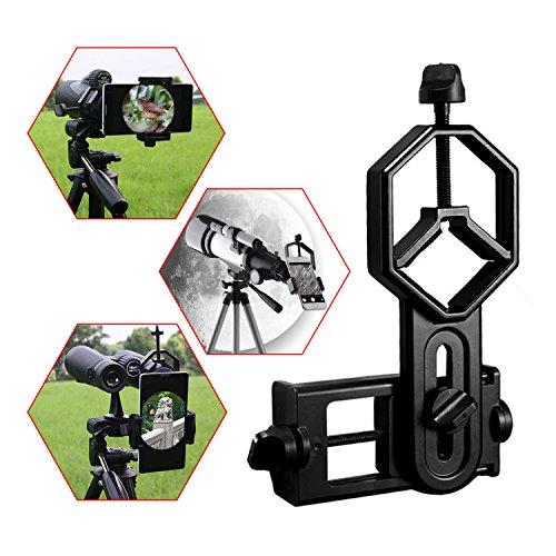 Astromania Universal Cell Phone Adapter Mount Support Binocular Monocular Spotting Scope Telescope and Microscope Optical Device - Black ()