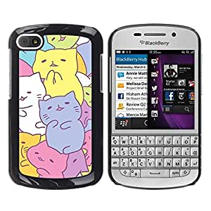 Design for Girls Plastic Cover Case FOR BlackBerry Q10 Cute Kittens Drawing Pastel Colorful OBBA