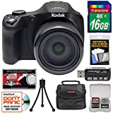 KODAK PIXPRO AZ652 Astro Zoom Digital Camera (Black) with 16GB Card + Case + Mini Tripod + Reader + Kit