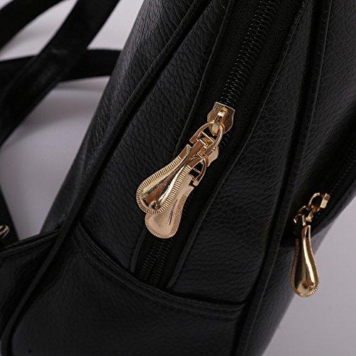 Women PU 2 Bags Fashion Shoulder School Black Travel Leather Bag Backpack Tassel Alixyz qCI6wn