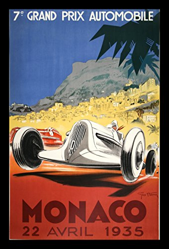 T1002 18x12 1.25 Black Plexi Framed Monaco 1935 Grand Prix Automobile by George Ham 18X12 Vintage Travel Art Print Poster Reproduction Car Racing French France Monte Carlo ()