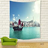 Vipsung House Decor Tapestry_Sailboat Decor Hong Kong Harbour Skyline Architecture Buildings Cloudy Sky Ship Cityscape_Wall Hanging For Bedroom Living Room Dorm