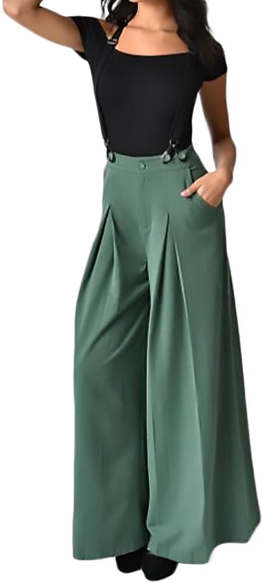 Pantalones Mujer Talle Alto Anchos Tirantes Para Pantalones Elegantes Vintage Casual Color Solido Ropa Pantalon Hippie Amazon Es Ropa Y Accesorios