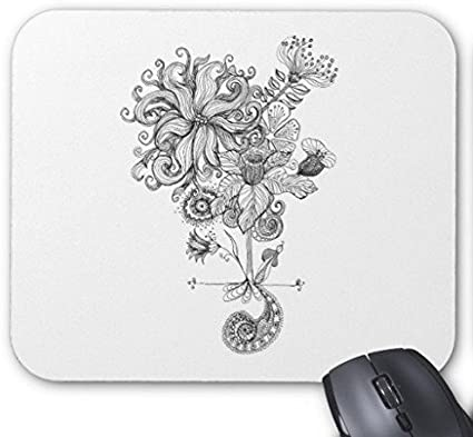 Tapis De Souris Gaming Noir Et Blanc Dessin Fleur Rectangle
