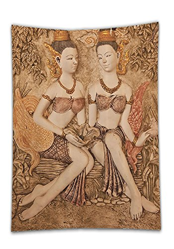 Chaoran Tablecloth Sculptures Decor Collection Native Thai Style Molding Art Asian Traditional Attire Temple Culture Image Bright Gold Holiday Home Decorative (Royal Prince Attire)