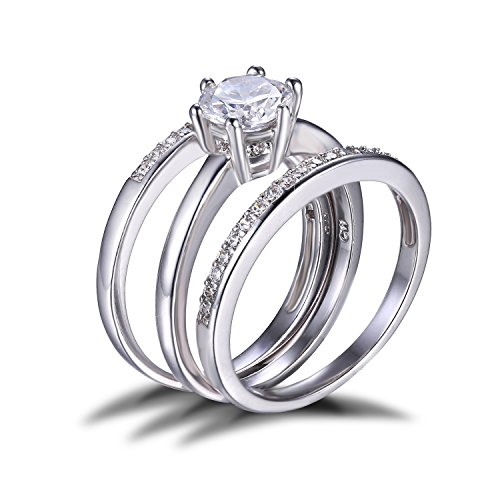 JewelryPalace Women 925 Sterling Silver 1.4ct CZ Engagement Ring Bridal Set Size 7