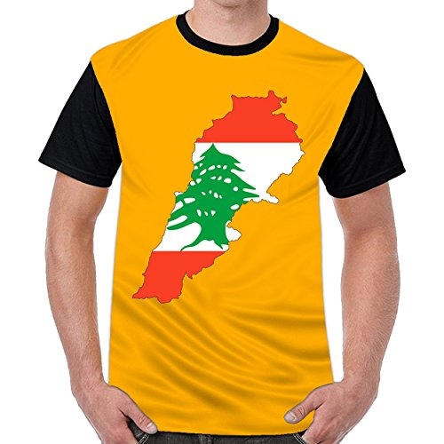 FunnyKing Lebanon Flag Map Mens Graphic Funny T-Shirts Dark (Pre Owned Vinyl)