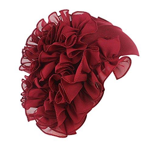TWGONE Womens Wrap Cap Flower Chemo Hat Beanie Scarf Turban Headband(One Size,Wine Red)
