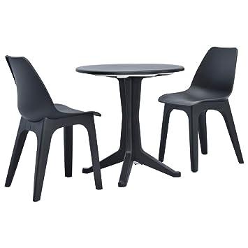 Festnight Bistro de Jardin 1 Table Ronde et 2 chaises de ...